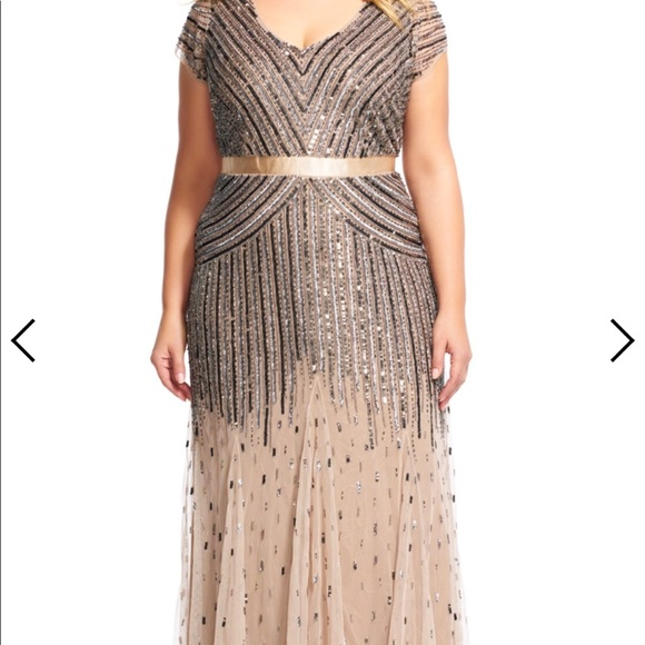Adrianna Papell Gold Beaded Gown Plus Size 14